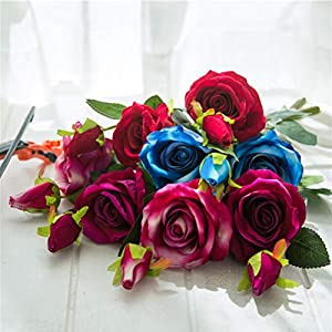 8Pcs Artificial Silk Rose Flower Real Touch Floral Decorations DIY for Home Office Wedding Bouquet Birthday Hotel Garden Party 8