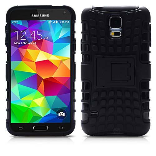 Galaxy S5 Case, MagicMobile Hybrid Armor Heavy Duty Shockproof Impact Resistant Dual Hard Black Plastic Layer and Black Flexible TPU Gel Skin Defender Cover with Kickstand [ Compatible with Samsung Galaxy S5 / I9600 / SV (2014) ]