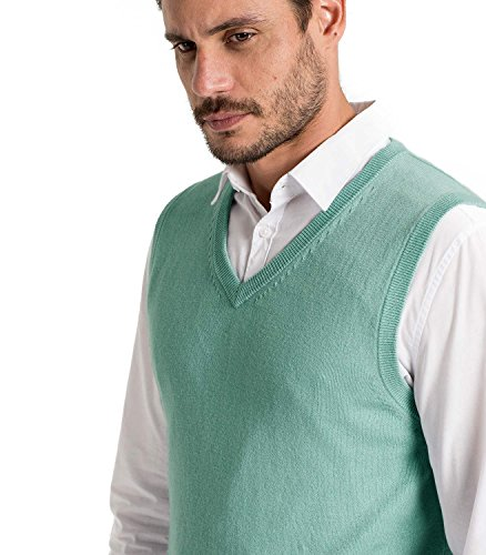 WoolOvers Pull sans manches - Homme - Cachemire & coton Aquamarine, M