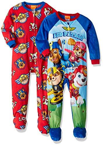 Nickelodeon Boys' Toddler Paw Patrol 2-Pack Footed Blanket Sleepers, Sky Blue, 2T