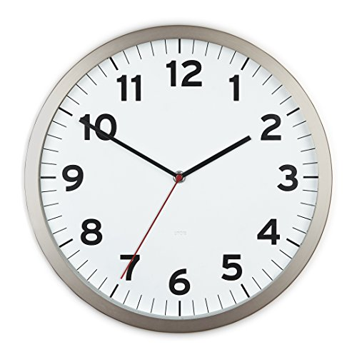 Umbra Anytime 12 Inch Wall Clock, Modern Wall Clock, Silent, Non-Ticking, Quartz Battery Operated, Easy to Read Home/Office/School Clock, White