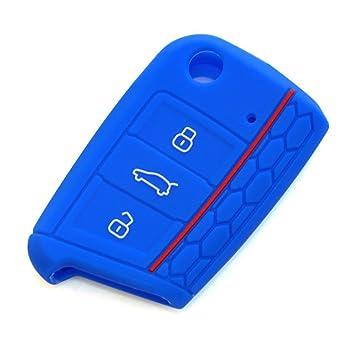 E-Senior Silicona Funda para llave de coche (compatible con SEAT Leon 5F, SC, St, Volkswagen Golf 7 GTI VW Golf MK7 VII) (azul)