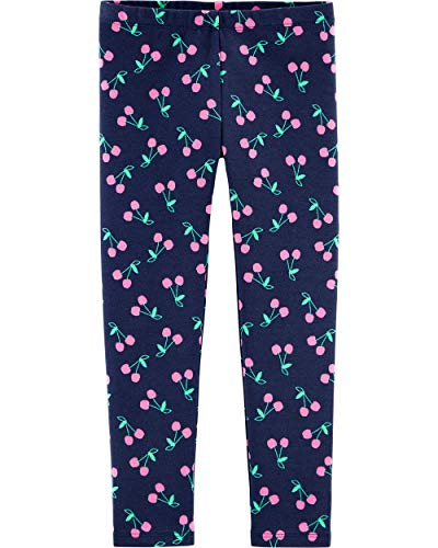 Osh Kosh Girls' Toddler Full Length Leggings, Navy Cherry, 5T (The Boy In The Striped Pajamas Sparknotes)