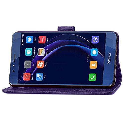 SRY-Conjuntos de teléfonos móviles de Huawei Caso HUAWEI Honor 8, Lucky Clover Estampado en relieve de cuero de la PU cubierta de la caja con ranuras para tarjetas y correa de mano Flores para HUAWEI  Purple