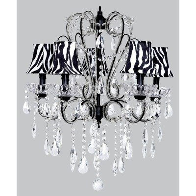 Chandelettes Collection - Jubilee Collection 76002-2412-500-MG2302 5 Light Carousel White Chandelier with Plain Pink Shade and White Bows/Small Pink Rose Magnets