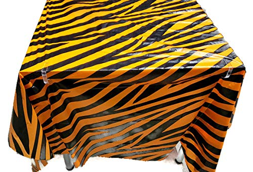 - Tiger Skin Table Cover Tablecloth Runner, Reusable Plastic Table Cover for Kids Parties, 4.5 feet by 9 feet, by Playscene (1, Tiger Skin)