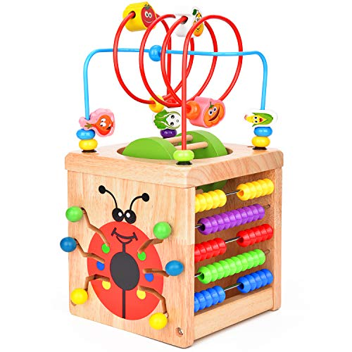 Activity Cube Toys Victostar Wooden Bead Maze Activity Center Multipurpose Educational Toys for 1 Year and up Old Wood Shape Color Sorter for Baby's & Toddlers