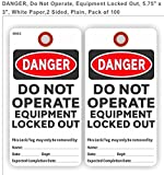 DANGER, DO NOT OPERATE, EQUIPMENT LOCKED OUT, 5.75'' X 3'', WHITE PAPER, 2 SIDED, PACK OF 100