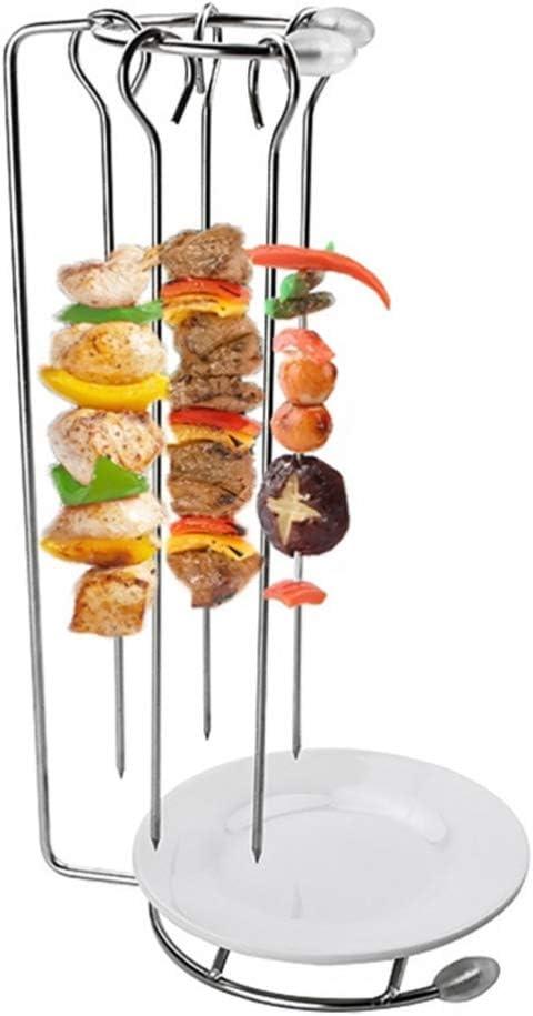 Hemoton 5 pinchos de asador para barbacoa, para exterior, para shish, kebab, pescado, aves, frutas, verduras, barbacoa al aire libre