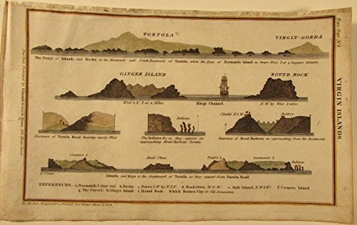 Virgin Islands Tortola Gorda Ginger Island 1827 Blunt coast map recognition view