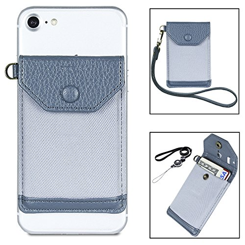 Stick on Phone Wallet, FRIFUN Ultra-Slim Self Adhesive Card Holder Credit Card Wallet for Smartphones RFID Sleeve Extra Tall Pocket Totally Covers Credit Cards & Cash (Gray Plus)