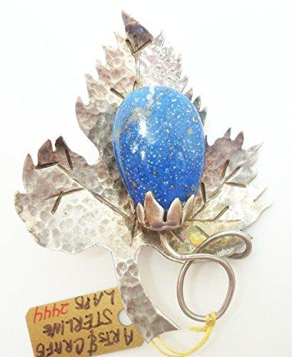 Arts & Crafts Hand Hammered Leaf Brooch with Genuine Natural Lapis (#2444)