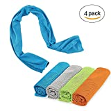 KongNai Cooling Towel, 4 Pack Cold Towel for Women and Men Using, Stay Cool Towel for Sports, Camping, Hiking, Golf, Yoga, Fitness, Gym & More
