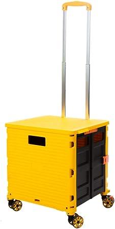 QXTT Carrito De La Compra Caja De Almacenamiento Plegable para Maletero De Coche con 4 Ruedas Carrito De La Compra Cesta De Comida Portátil para Camping,Yellow: Amazon.es: Hogar