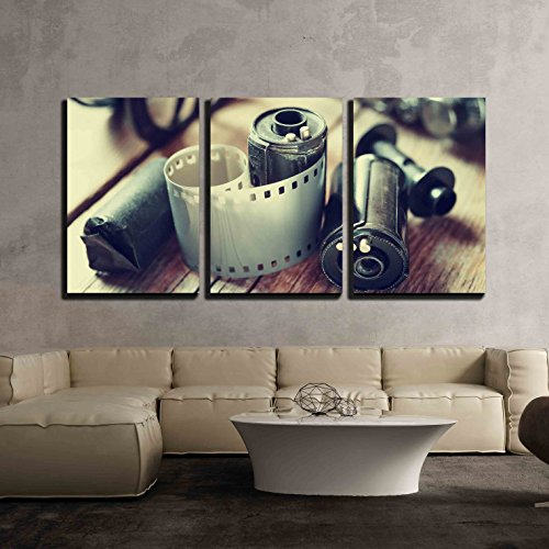"wall26 - 3 Piece Canvas Wall Art - Old Photo Film Rolls, Cassette and Retro Camera. Vintage Stylized. - Modern Home Decor Stretched and Framed Ready to Hang - 16""x24""x3 Panels"