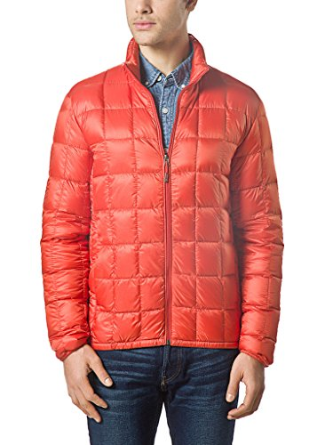- XPOSURZONE Men Packable Down Quilted Puffer Jacket Lightweight Puffer Coat Blazing Orange S
