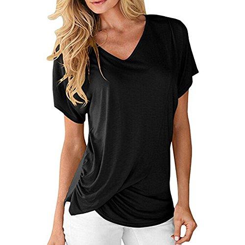 Cewtolkar Women T Shirt Solid Color Tops O Neck T Shirt Pullover Tunic Short Sleeve Tees Casual Shirt Summer Top Black