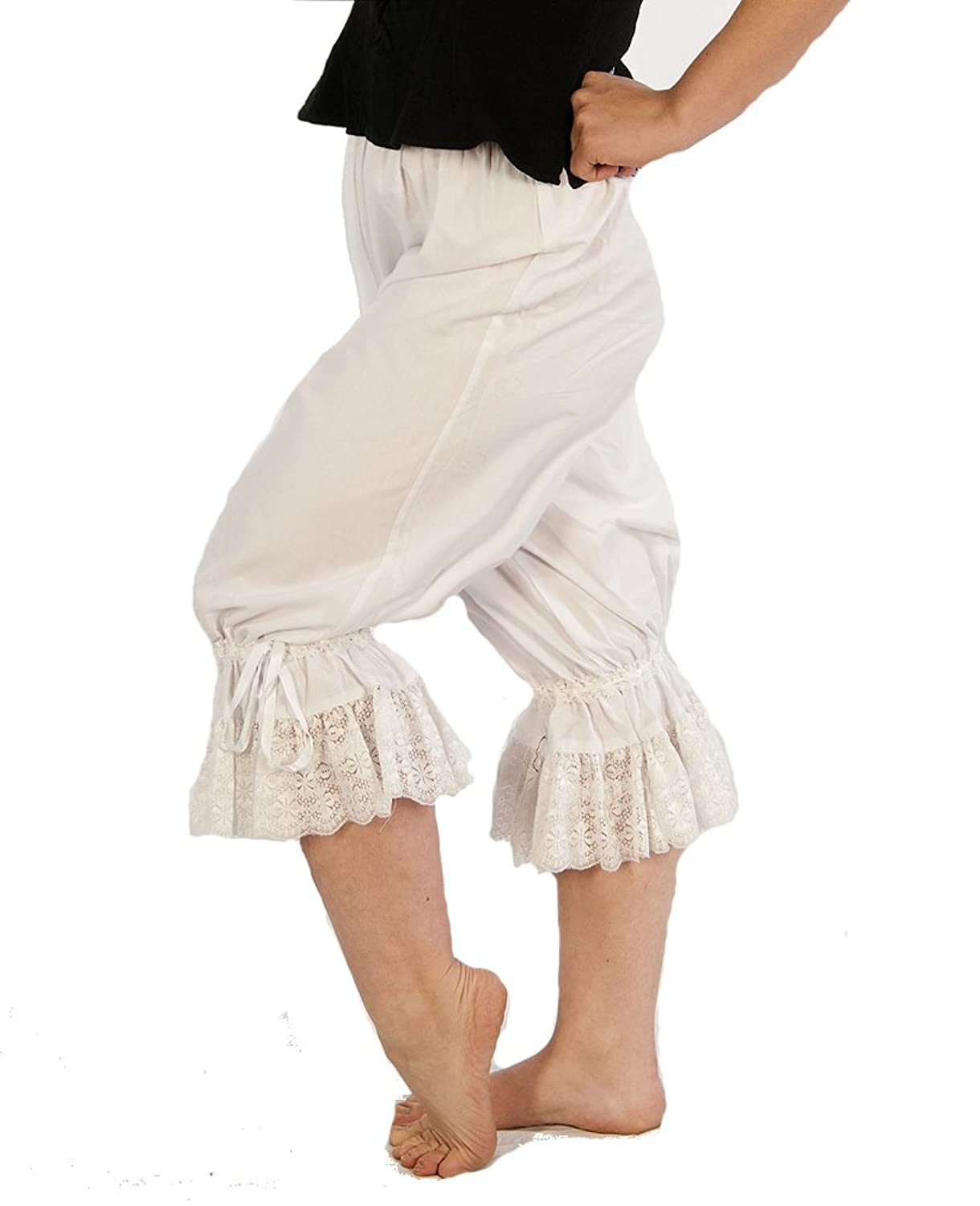 Renaissance Wench Cotton Lace Trimmed Bloomers - DeluxeAdultCostumes.com