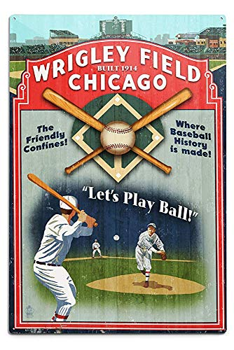 Lilyanaen New Great Chicago Illinois Wrigley Field Vintage Sign Aluminum Wall Sign Wall Decor Ready to Hang for Outdoor & Indoor 12 x 18 in