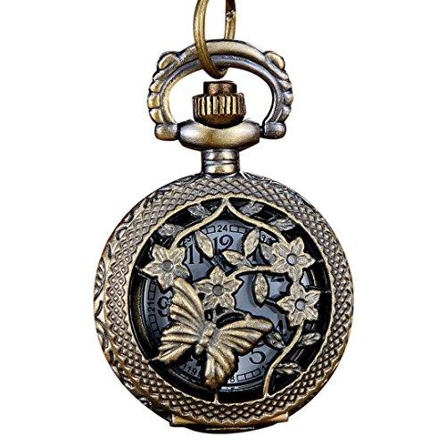 Price comparison product image Men's Vintage Bronze Tone Spider Web Design Chain Pendant Pocket Watch Gift (B2)