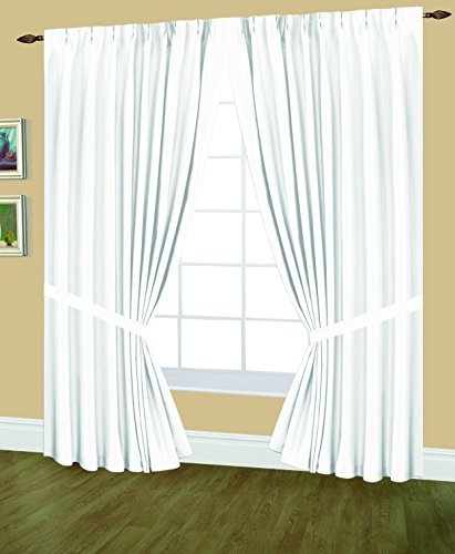 Editex Home Textiles Elaine Lined Pinch Pleated Window Curtain, 144 by 63-Inch, White