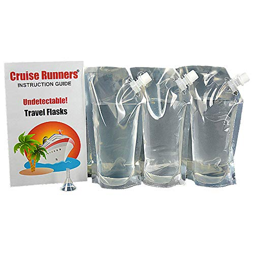 CRUISE RUNNERS Cruise Ship Flask Kit Sneak Alcohol Enjoy Rum Runners Hide Liquor Smuggle Booze Plastic Pouch Bags 3 x 32oz + Travel Funnel For Cruises ()