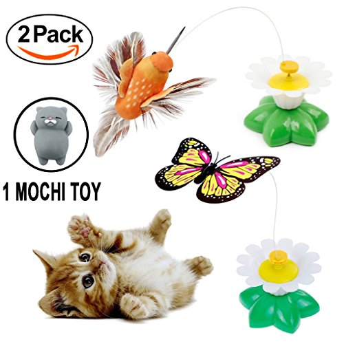 Qiekenao Butterfly, Bird Toy for Cats, Pet Cats Funny Rotating Electric Flying Butterfly and Bird Interactive Cat Toy for Kitten and Puppy, Set of - Butterfly And Cat