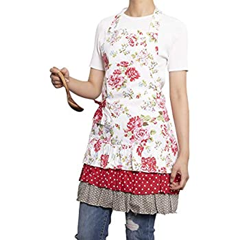 NEOVIVA Kitchen Aprons for Women with Pocket, Old-Fashioned Canvas Bib Apron for Cooking, Baking, BBQ and Gardening, Style Doris, Floral Lollipop Red