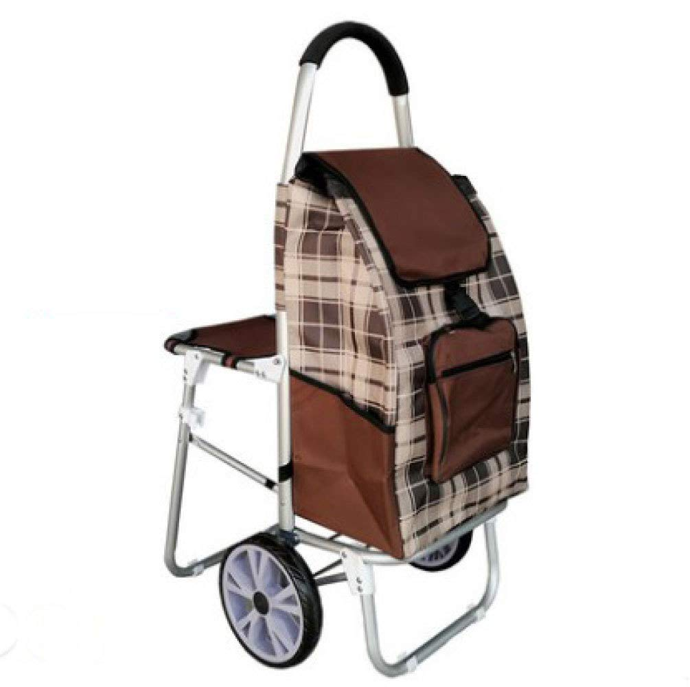 Trolley Shopping Folding Portable with Seat, Brown by Trolley