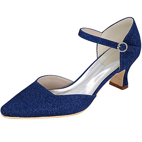 Loslandifen Mujeres Point Toe High Heels Elegant Glitter Pumps Boda Zapatos De Novia Azul