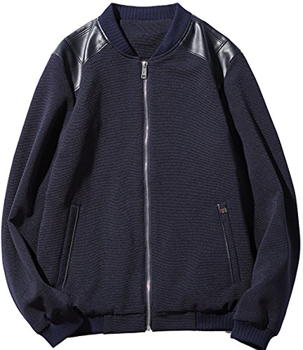 S&S Men's Stand Collar Flap Splicing Zipper - Varsity Jacket Soccer