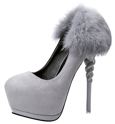 Mystique Movie Costume (T&Mates Womens Trendy Slip-on High Heel Stiletto Heeled Hidden Platform Suede Faux Fur Featured Pumps (6 B(M)US,Gray))