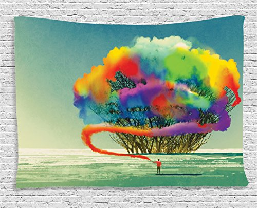 (Ambesonne Fantasy Art House Decor Tapestry by, Psychedelic Man Draws Abstract Tree with Colored Smoke Flare Be Creative, Wall Hanging for Bedroom Living Room Dorm, 60WX40L Inches, Multi)