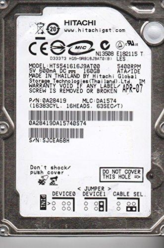 - HTS541616J9AT00, PN 0A28419, MLC DA1574, Hitachi 160GB IDE 2.5 Hard Drive