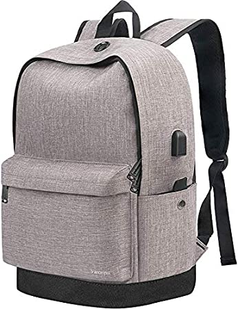Backpack Travel Laptop School Backpack With Usb Charging Port For Women Men Water Resistant Canvas College Student Bookbag Fits 15 6 Inch Laptop And