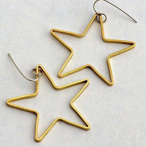 Large gold brass star dangle hoop earrings Celestial jewelry sterling silver hypoallergenic ear wires Raw Brass Hoop