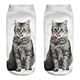 Funny Socks Clearance, Women Girls Cat 3D Print Printed Funny Casual Ankle Socks Crazy Novelty Low Cut Short Socks (B6)