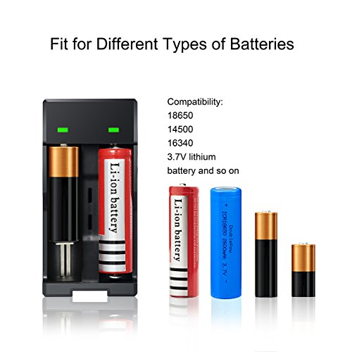 Deruicent 4 Pack 3.7V 18650 Rechargeable Li-ion Battery with Charger for High-Power LED Flashlights, Headlamps by Deruicent (Image #4)