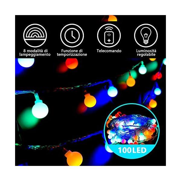 Luce della stringa,Tececu luce decorativa esterna 100 Palla LED USB, Catene Luminose 10M con 8 Modalità, per Interno/Esterno, Feste, Giardino, Natale, Matrimonio, Albero di Natale, Terrazzo 2 spesavip