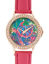 Womens Sea Turtle Pink Strap Watch One Size Pink multi