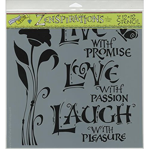 Crafters Workshop Template, 12 by 12-Inch, Live, Love and Laugh (Live Laugh Love Paint Stencil)