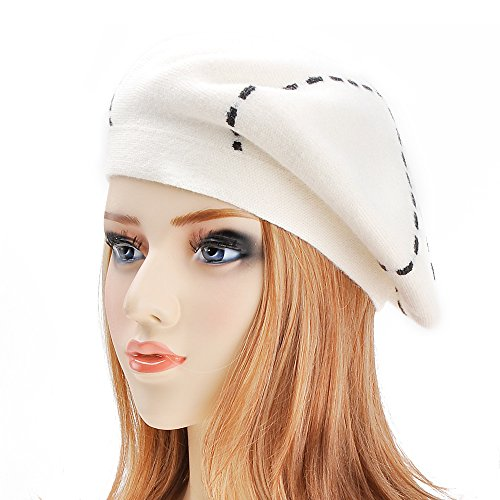 ZLYC Womens Reversible Cashmere Beret Hat Double Layers French Beret, White by ZLYC