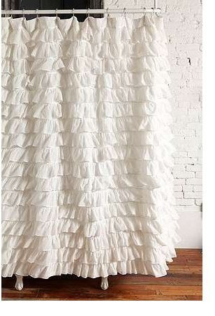 Waterfall Ruffled Fabric Shower Curtain White