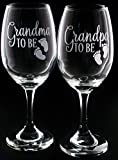 New Grandma Grandpa Grandparent Wine Glass gift Set Pregnancy Reveal Wine Glass Review