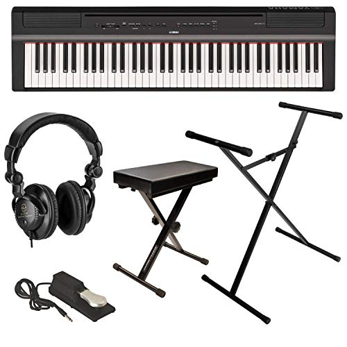 Yamaha P-121 73-Key Digital Piano, Black - Bundle with Ultimate Medium X-Style Keyboard Bench, H&A Studio Monitor Headphones, Ultimate JS-XS300 X-Style Stand, KSP100 Keyboard Sustain Pedal
