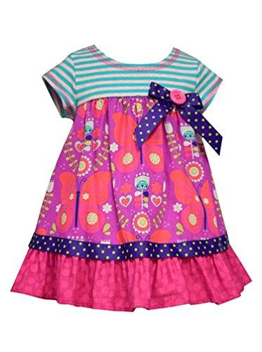 Bonnie Baby Baby Girls' Purple Stripe to Butterfly Print Empire Dress, 24 (Poplin Empire Dress)
