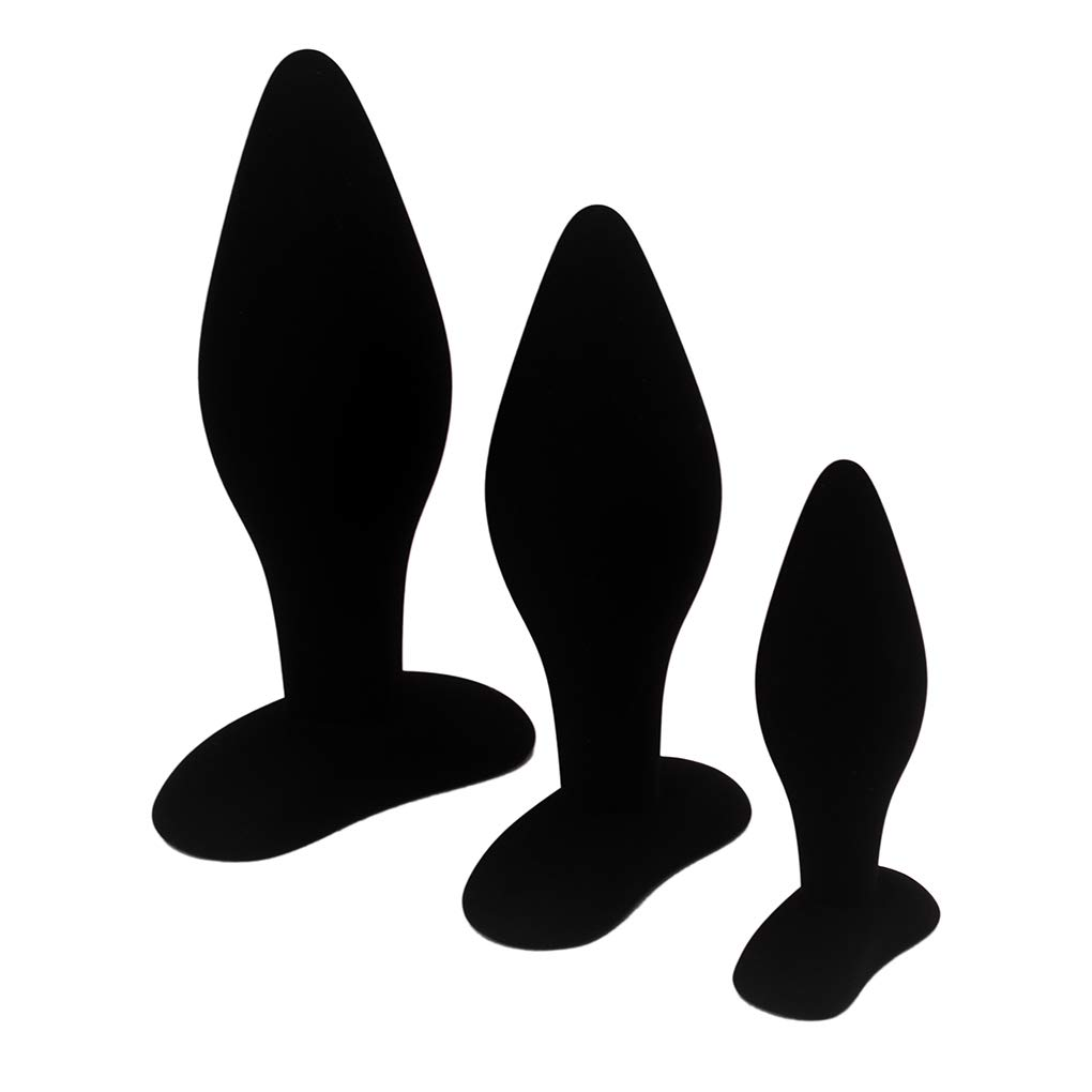 Eastern Delights Anal Sex Trainer 3PCS Kit Black Silicone Butt Plugs