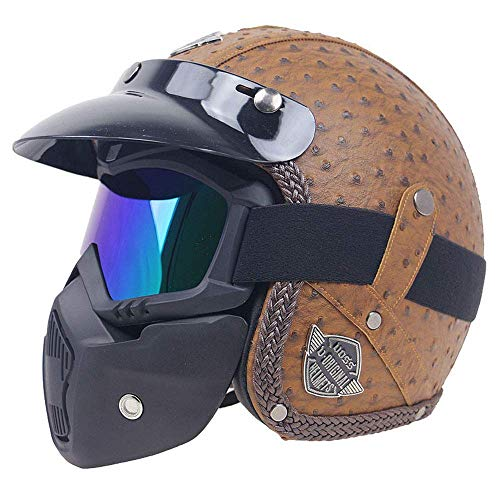 Legal Leather Street (HALUOBOY Retro Harley Motorcycle Motorbike Moped Cruise Touring Travellers Helmet Open Face Jet-with Goggle Mask&Visor ECE22.05 Approved)