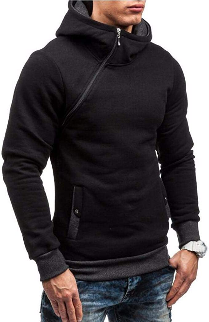 Geetobby Mans Solid Hoodie Casual Party Sweater Side Zipper