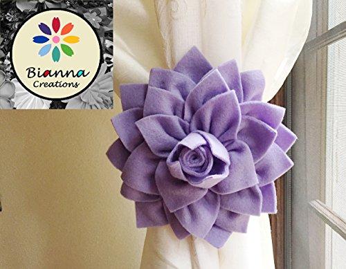 Bianna Creations ONE Dahlia Curtain Tieback, Flower Holdback, Spring Accent Hold back, Floral Home Decor, Nursery Decoration ... (Lavender)